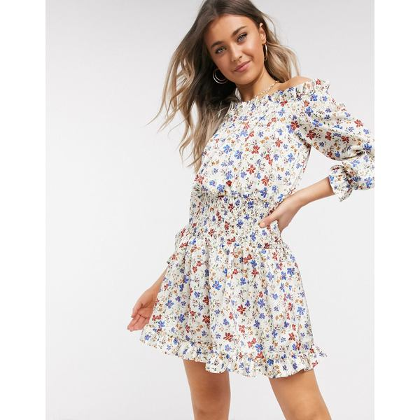 エイソス レディース ワンピース トップス ASOS DESIGN shirred satin mini dress with pephem in floral print Ditsy floral
