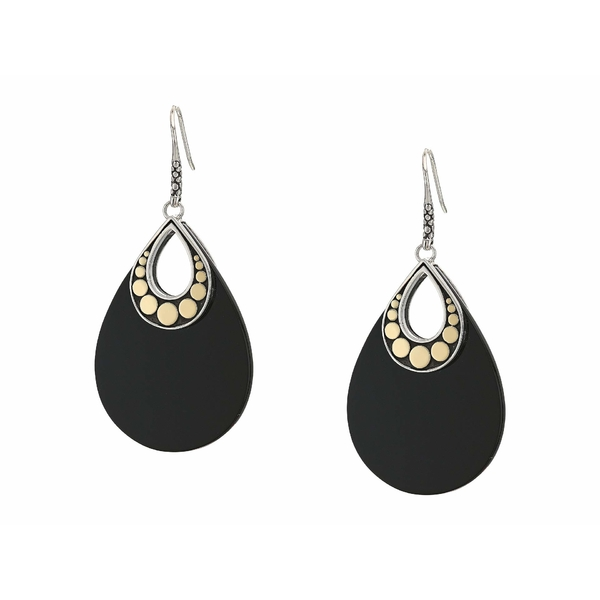 ジョン・ハーディー レディース ピアス&イヤリング アクセサリー Dot French Wire Earrings w/ Black Onyx BG Silver/Gold