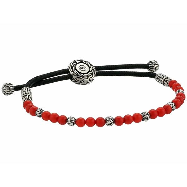 ジョン・ハーディー メンズ ブレスレット・バングル・アンクレット アクセサリー Classic Chain Round Beads Pull Through Bracelet on Black Cord w/ Stabilized Red Coral Silver
