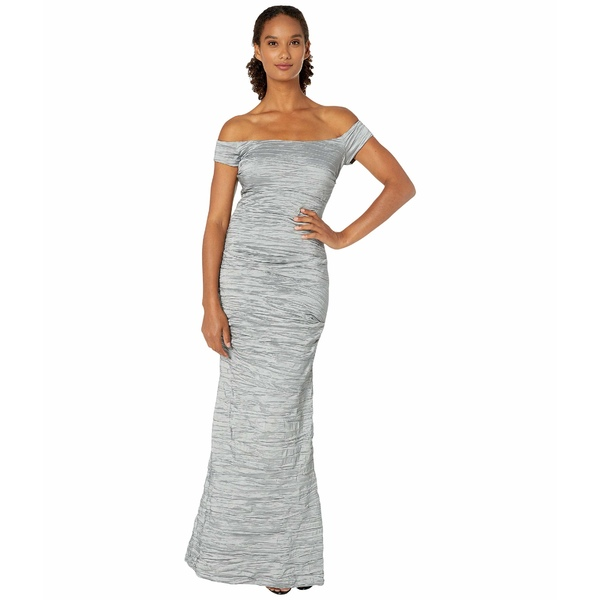 アレックスイブニングス レディース ワンピース トップス Long Off-the-Shoulder Stretch Taffeta Dress with Fishtail Skirt Platinum
