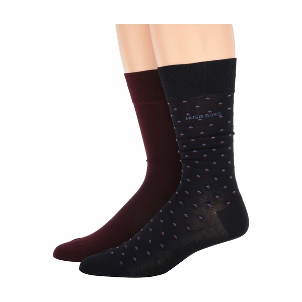 ヒューゴボス メンズ 靴下 アンダーウェア 2-Pack Regular Sock Minipattern Mercerized Cotton Socks Wine/Navy