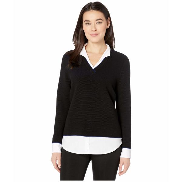 フォックスクラフト レディース ニット&セーター アウター Petite Mika Ribbed Twofer Sweater Black
