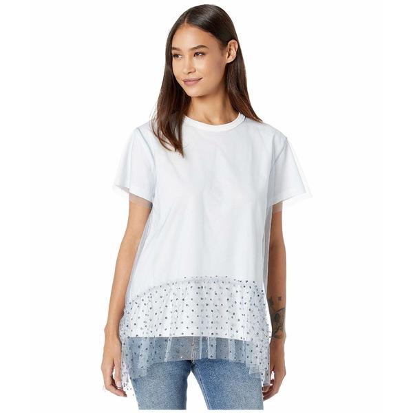 レッドヴァレンティノ レディース シャツ トップス Tulle T-Shirt White/Blue