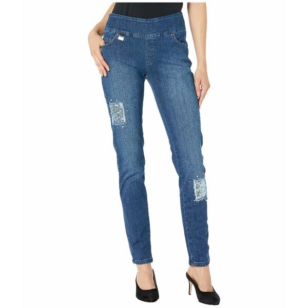 リセットエルモントリオール レディース デニムパンツ ボトムス Betty Sequined Patch Slim Jeans Denim Blue