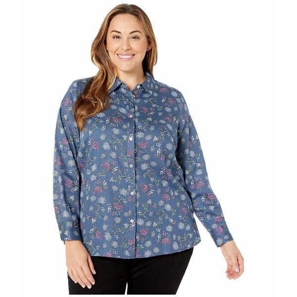 フォックスクラフト レディース シャツ トップス Plus Size Ava in Denim Floral Blue Jean