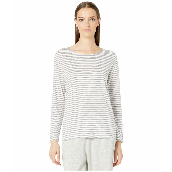 エイリーンフィッシャー レディース シャツ トップス Organic Cotton Slub Stripe Jewel Neck Box-Top White/Ash