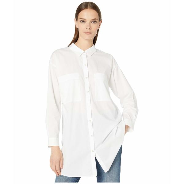 エイリーンフィッシャー レディース シャツ トップス Organic Cotton Stretch Lawn Classic Collar Long Boxy Shirt White