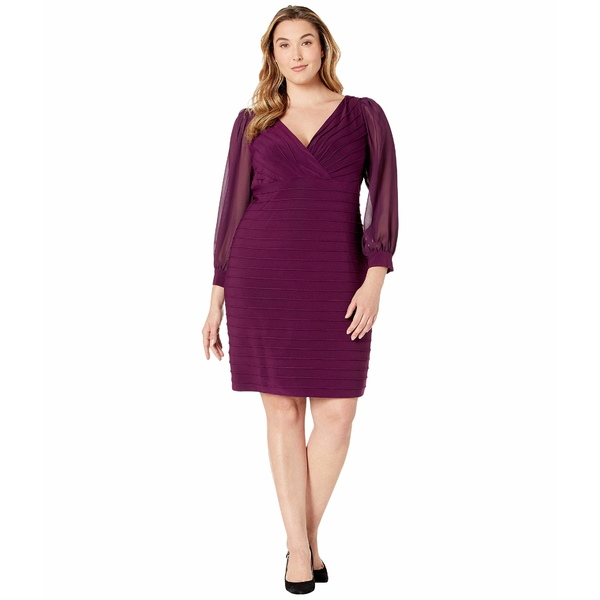 アドリアナ パペル レディース ワンピース トップス Plus Size Jersey and Chiffon Pintucked Sheath Dress Shiraz
