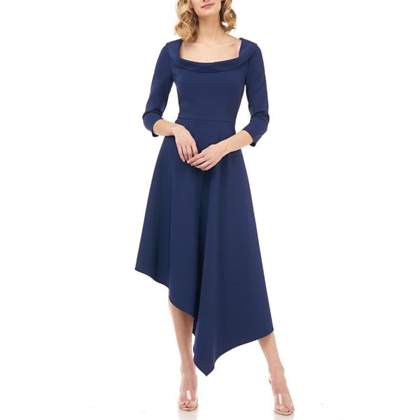 ケイアンガー レディース ワンピース トップス Kay Unger Arianna Asymmetrical Hem Midi Dress Deep Navy