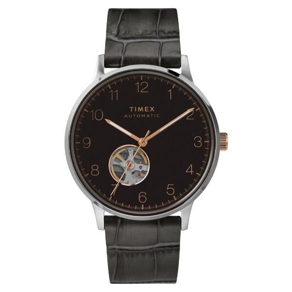 タイメックス レディース 腕時計 アクセサリー Timex Waterbury Automatic Leather Strap Watch, 40mm Grey/ Black/ Rose Gold