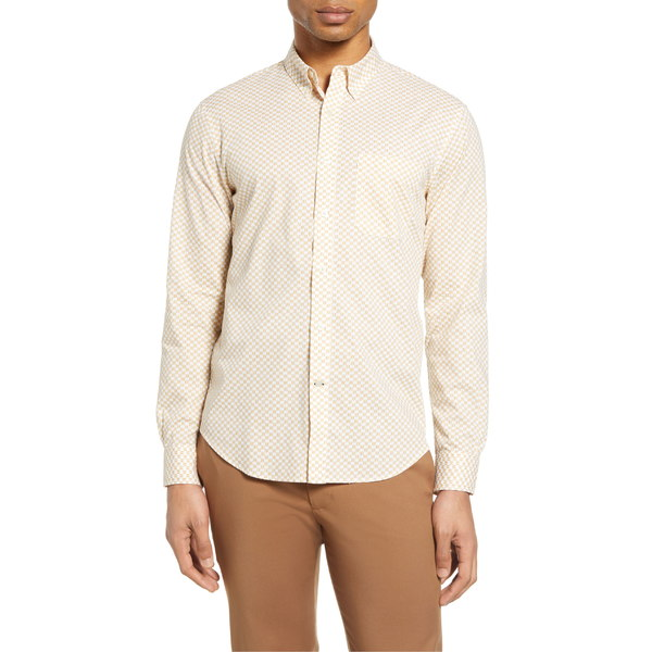 クラブ モナコ メンズ シャツ トップス Club Monaco Slim Fit Honeycomb Print Button-Down Shirt White/ Yellow