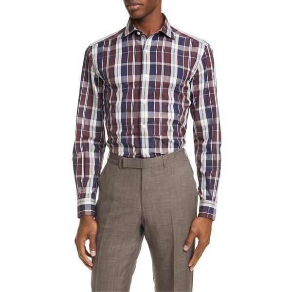 エルメネジルド・ゼニア メンズ シャツ トップス Ermenegildo Zegna Classic Fit Plaid Cotton & Linen Button-Up Shirt Brown