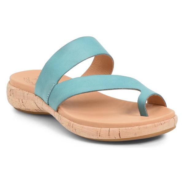 コークイース レディース サンダル シューズ Kork-Ease Elaver Slide Sandal (Women) Turquoise Leather
