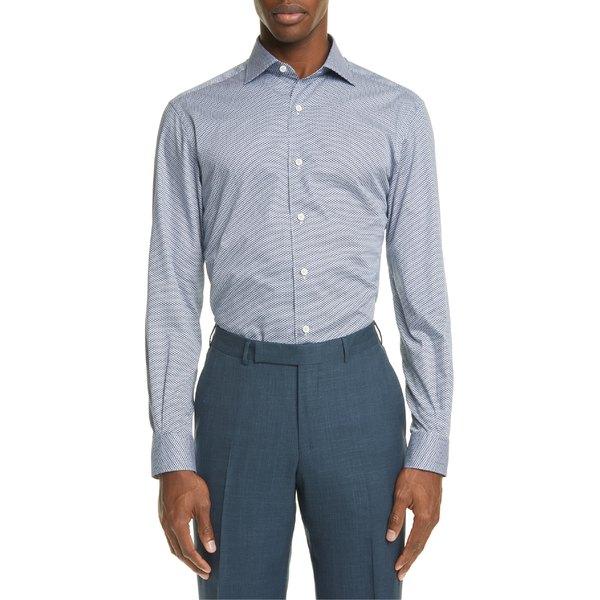 エルメネジルド・ゼニア メンズ シャツ トップス Ermenegildo Zegna Classic Fit Button-Up Shirt Blue