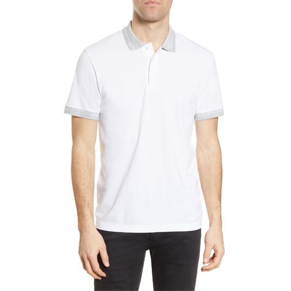 フレンチコネクション メンズ ポロシャツ トップス French Connection Regular Fit Mlange Cotton Piqu Polo White/ Light Grey