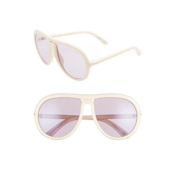 トム・フォード レディース サングラス&アイウェア アクセサリー Tom Ford Cybil 60mm Aviator Sunglasses Ivory/ Antique Pink