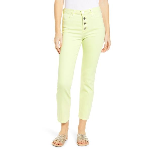 エージー レディース カジュアルパンツ ボトムス AG The Isabelle Button Fly High Waist Ankle Straight Leg Jeans Hi White Citrus Mist