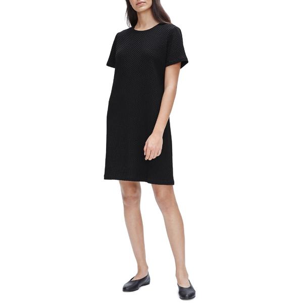 エイリーンフィッシャー レディース ワンピース トップス Eileen Fisher Textured T-Shirt Dress Black