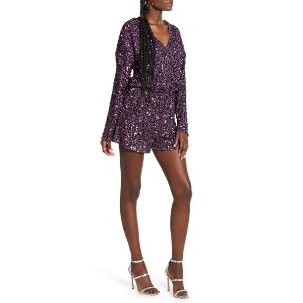 エンドレスローズ レディース トップス ワンピース Purple 全商品無料サイズ交換 エンドレスローズ レディース ワンピース トップス Endless Rose Sequin Long Sleeve Wrap Romper Purple