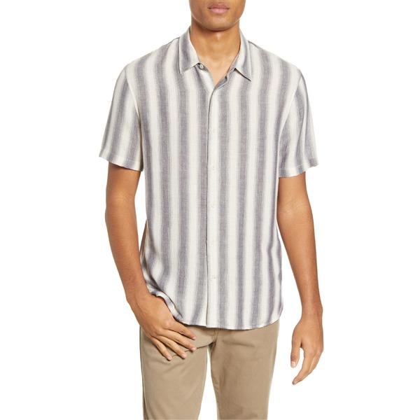 ヴィンス メンズ シャツ トップス Vince Slim Fit Stripe Short Sleeve Button-Up Shirt Sail/Coastal