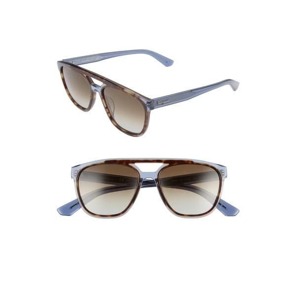 サルヴァトーレ フェラガモ メンズ サングラス・アイウェア アクセサリー Salvatore Ferragamo 55mm Navigator Sunglasses Havana Blue