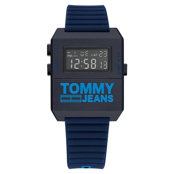 トミーヒルフィガー レディース 腕時計 アクセサリー Tommy Jeans Digital Rubber Strap Watch, 32.5mm x 42mm Blue