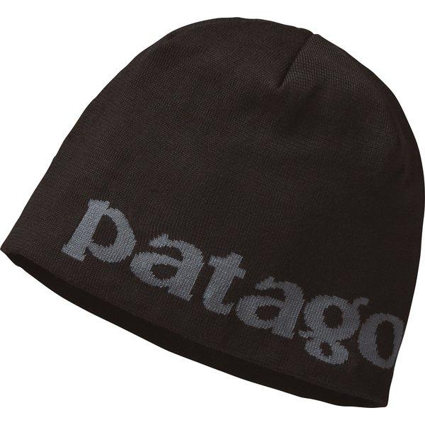 パタゴニア メンズ 帽子 アクセサリー Patagonia Men's Beanie Hat LogoBelwe/Black