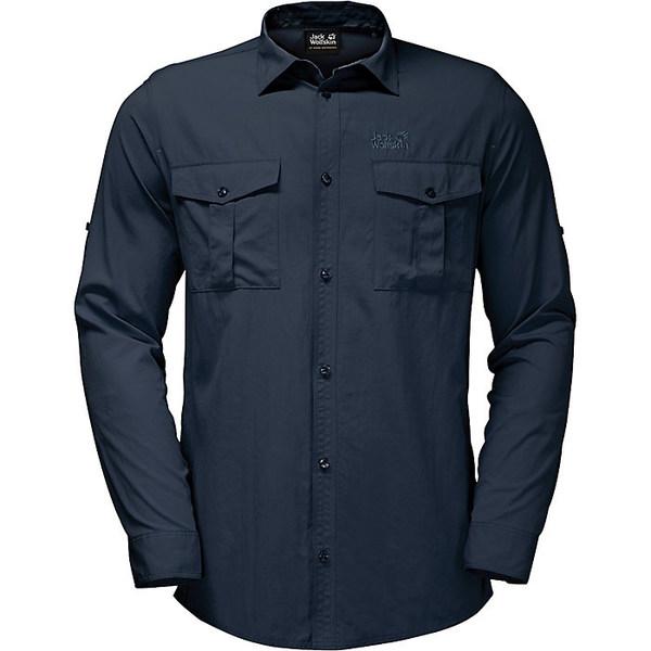 ジャックウルフスキン メンズ シャツ トップス Jack Wolfskin Men's Atacama Roll-Up Shirt Night Blue