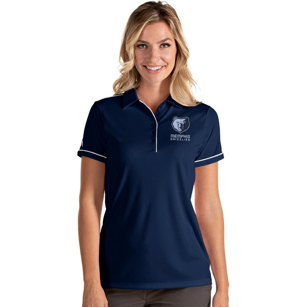 Antigua レディース トップス ポロシャツ Navy White 全商品無料サイズ交換 Women's 5%OFF Grizzlies おすすめ Polo アンティグア Salute Shirt Memphis
