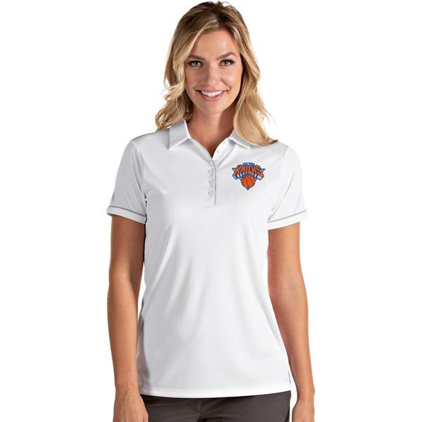 Antigua レディース トップス ポロシャツ White Silver 全商品無料サイズ交換 至高 アンティグア Women's Knicks Shirt York Polo 安売り New Salute