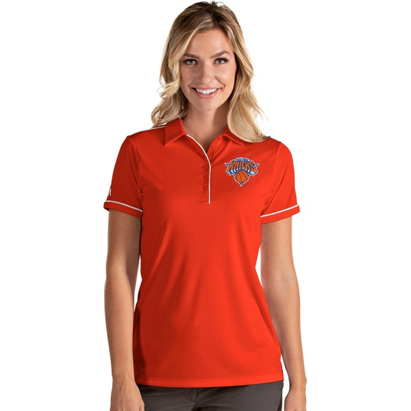 即納最大半額 Antigua レディース トップス ポロシャツ Orange White 全商品無料サイズ交換 SALE アンティグア Women's York Polo Shirt Knicks New Salute