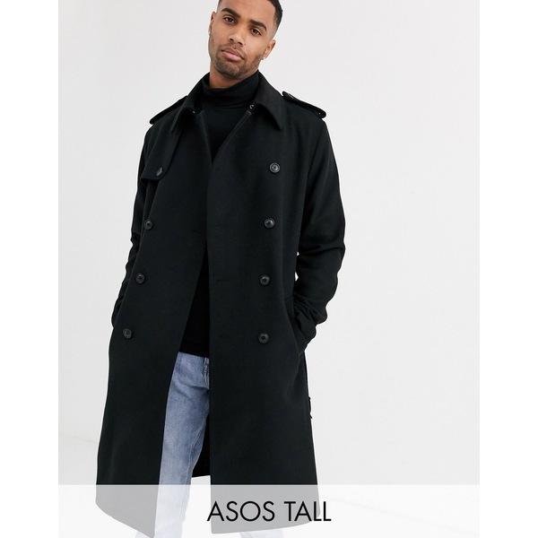 エイソス メンズ コート アウター ASOS DESIGN Tall double breasted long line trench jacket in black Black