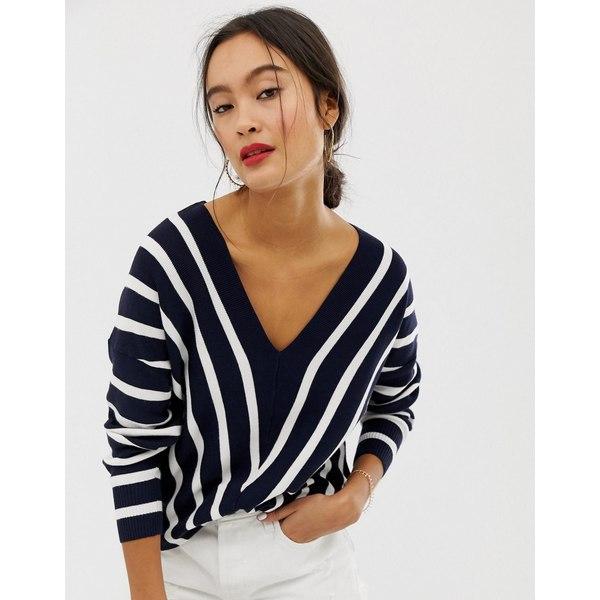 オンリー レディース ニット&セーター アウター Only vertical stripe wide v neck sweater Navy