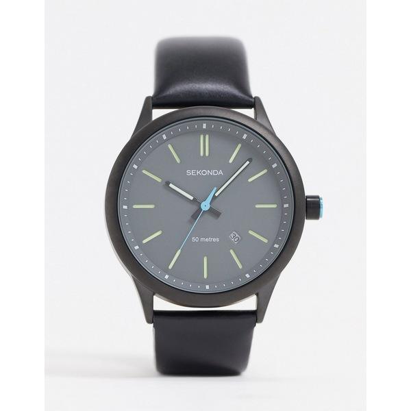 セコンダ メンズ 腕時計 アクセサリー Sekonda leather watch in black exclusive to Asos Black