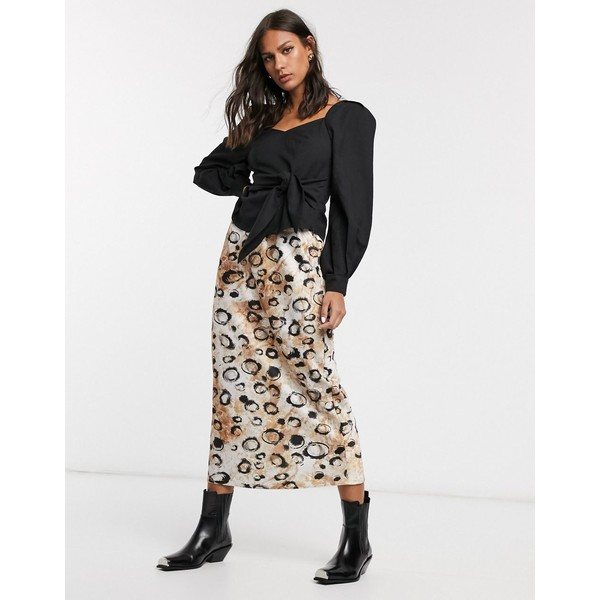 エイソス レディース スカート ボトムス ASOS DESIGN satin bias midi skirt in smudged leopard print Brown leopard