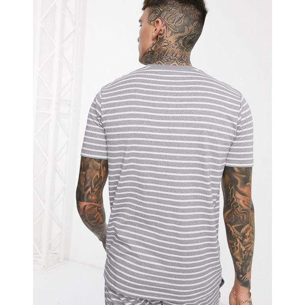 エレッセ メンズ Tシャツ トップス ellesse Theron striped t-shirt in gray Gray