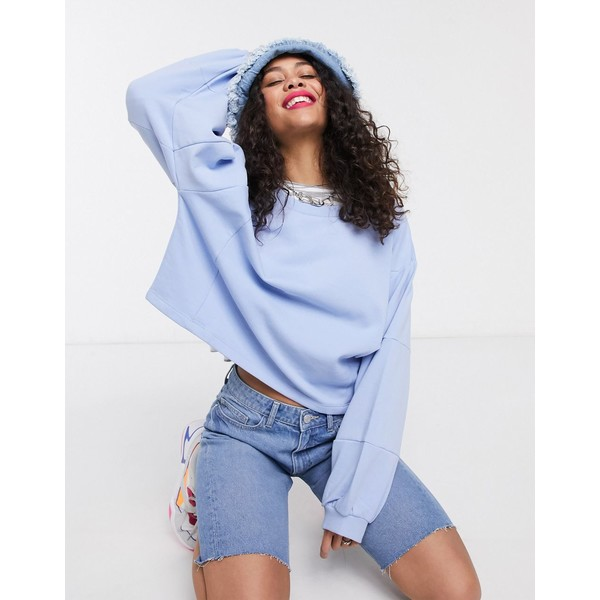 ノイジーメイ レディース パーカー・スウェットシャツ アウター Noisy May oversized balloon sleeve sweatshirt in blue Blue