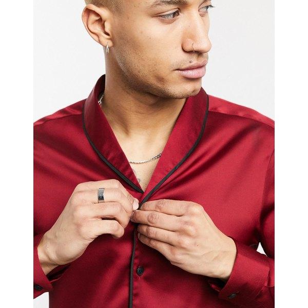 エイソス メンズ シャツ トップス ASOS DESIGN regular fit shirt in burgundy with contrast piping Burgundy