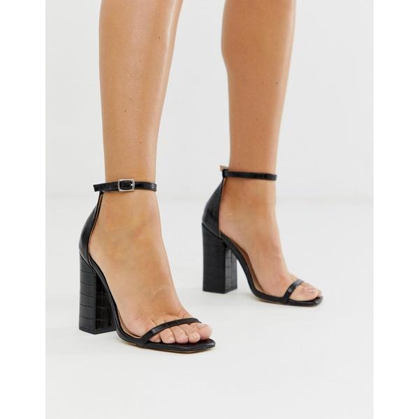 シミシューズ レディース サンダル シューズ Simmi London Joice heeled sandals with square toe in black croc Black croc