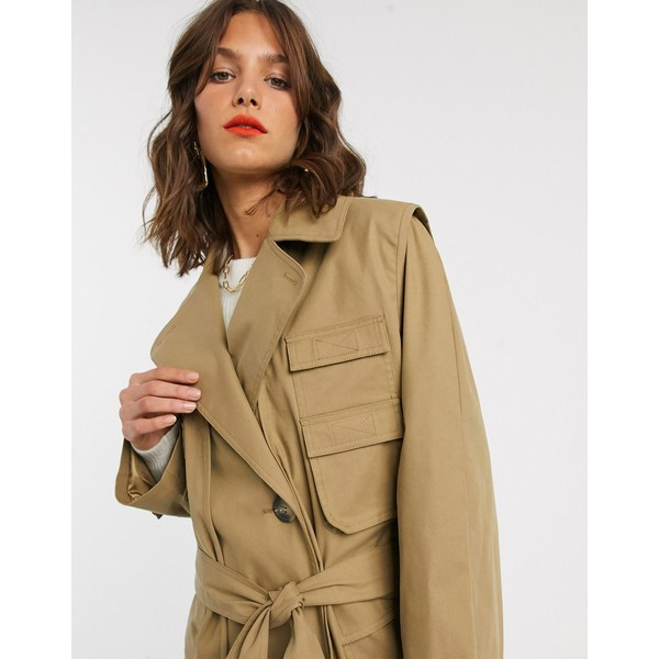 エイソス レディース コート アウター ASOS DESIGN hybrid utility trench coat in camel Camel