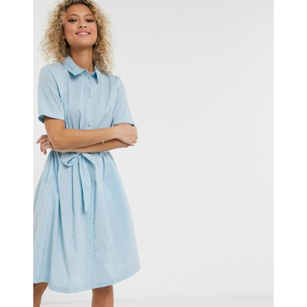 ジェイディーワイ レディース ワンピース トップス JDY poplin shirt dress in blue Blue