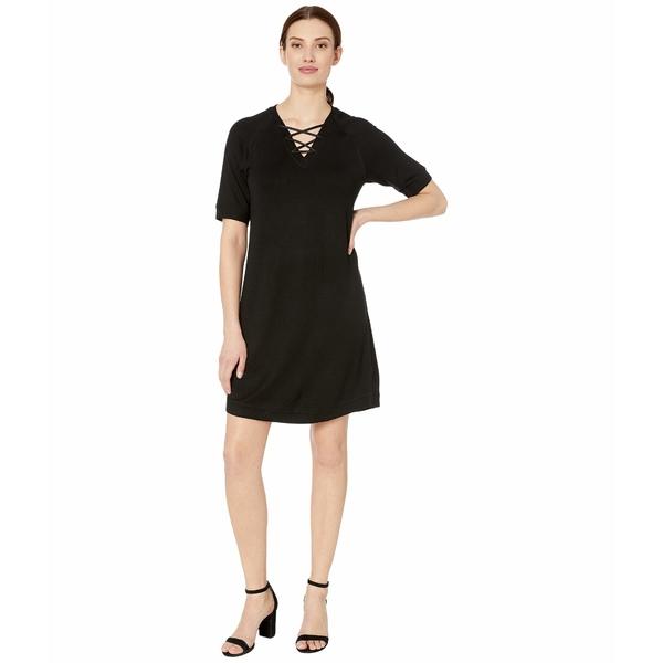 トリバル レディース ワンピース トップス Short Sleeve Lace-Up Dress Black