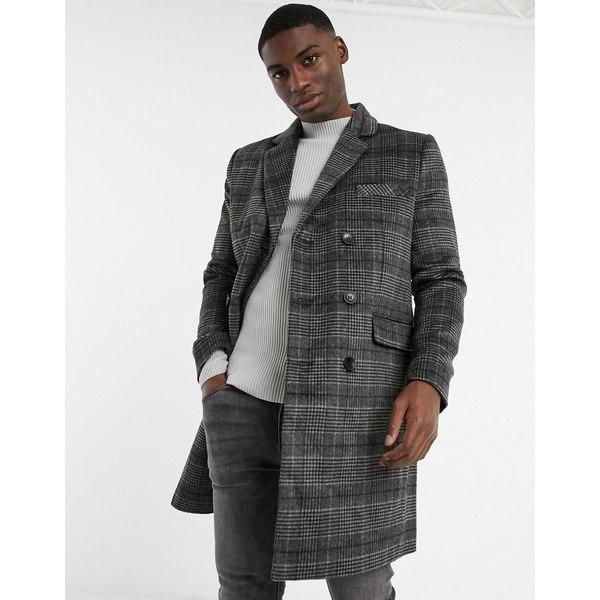 メンズ double breasted plaid Connection French コート Grey overcoat フレンチコネクション アウター
