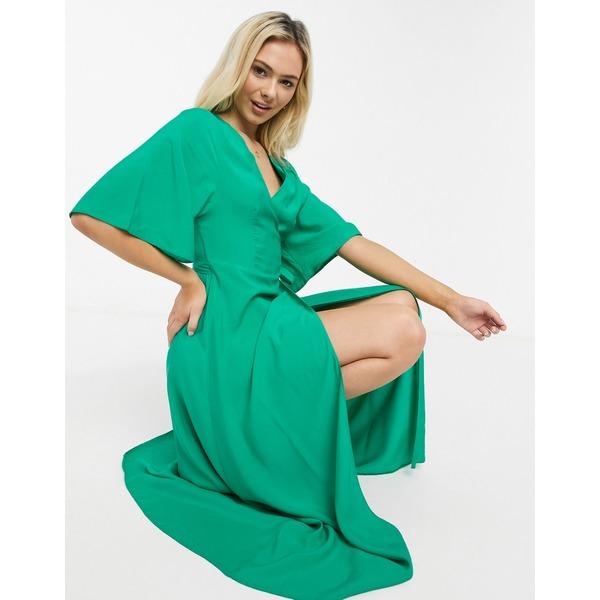 リクオリッシュ 配送員設置送料無料 レディース トップス 売り出し ワンピース Green 全商品無料サイズ交換 in dress wrap midi Liquorish green