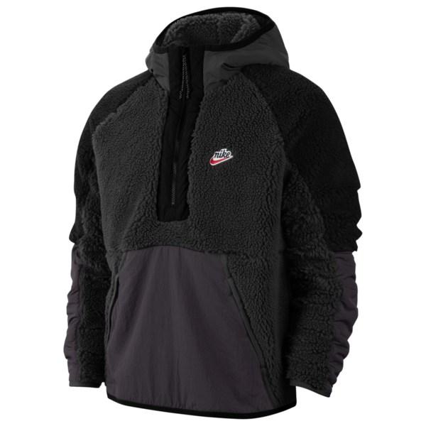 ナイキ メンズ ジャケット&ブルゾン アウター Heritage Essentials Half Zip Sherpa Jacket Black/Off Noir