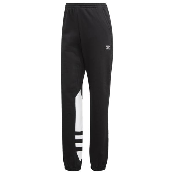 アディダスオリジナルス レディース カジュアルパンツ ボトムス Adicolor Big Trefoil Fleece Pants Black/White