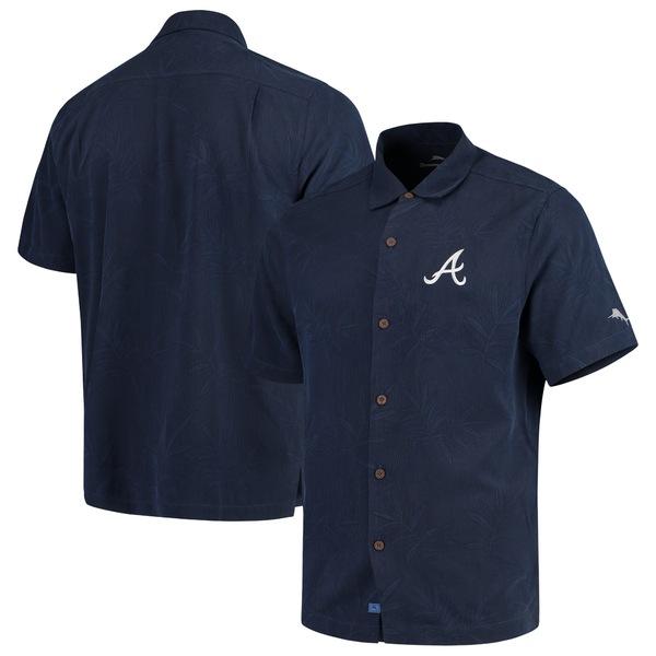 トッミーバハマ メンズ シャツ トップス Atlanta Braves Tommy Bahama Luau Floral Core Camp ButtonUp Shirt Navy