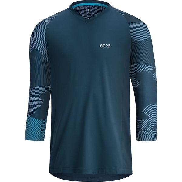ゴアウェア メンズ サイクリング スポーツ Trail 3/4-Sleeve Jersey - Men's Deep Water Blue/Dynamic Cyan