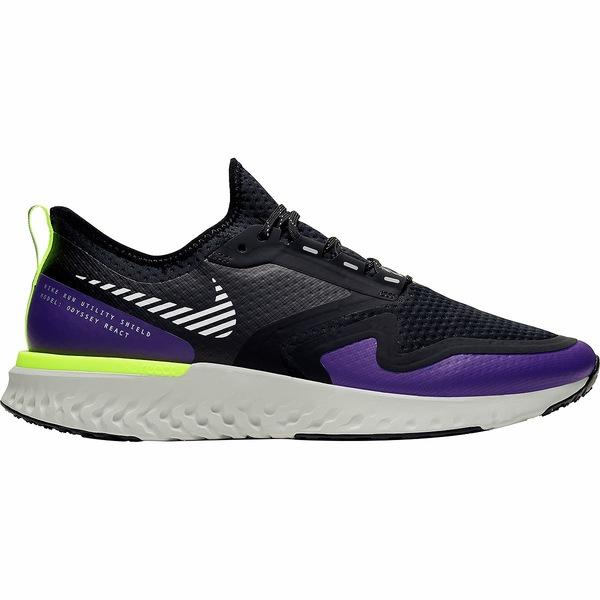 ナイキ メンズ スニーカー シューズ Odyssey React Shield 2 Running Shoe - Men's Black/Metallic Silver-Voltage Purple