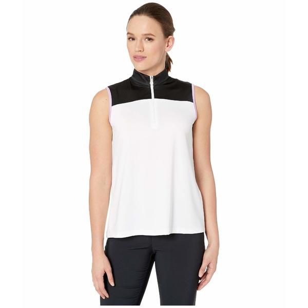 キャラウェイ レディース シャツ トップス Block Sleeveless Polo w/ Contrast Pleat Brilliant White